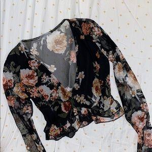 Floral Print Mesh Crop Top
